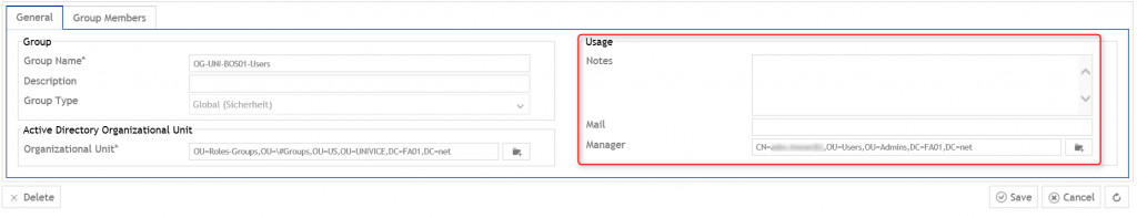 group attributes: notes, mail, manager