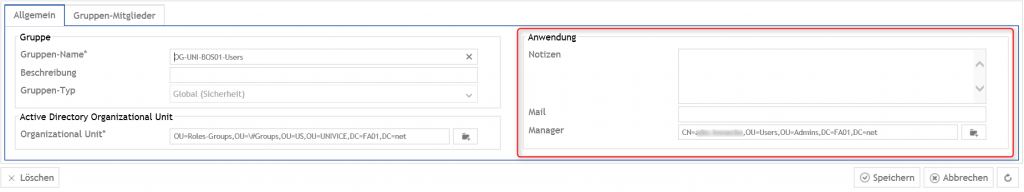 Gruppen Attribute: Notizen, Mail und Manager