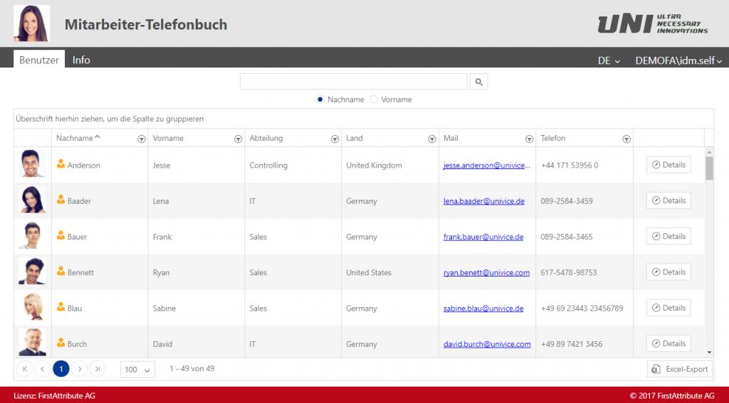 Active Directory Telefonbuch angepasst