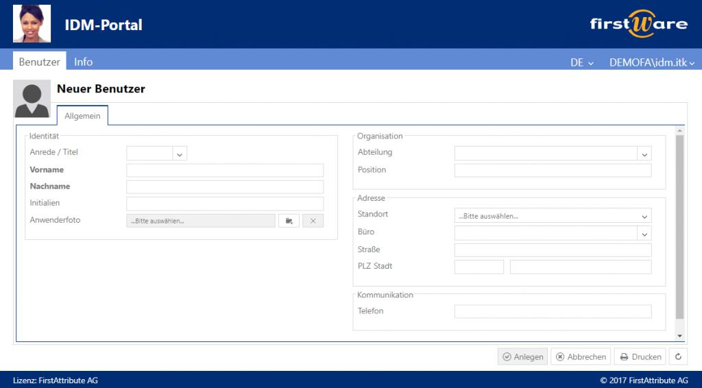 FirstWare IDM-Portal zur einfachen AD Benutzerverwaltung