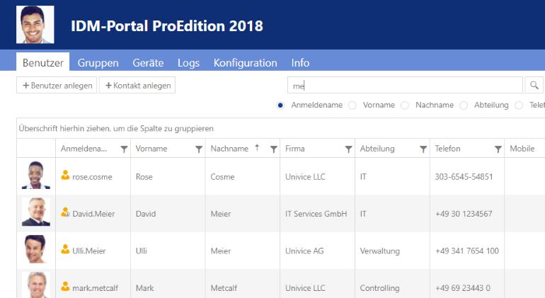 IDM-Portal ProEdition 2018 Adminsicht