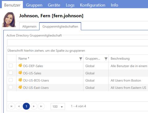 Gruppenmitgliedschaften eines Benutzers - AD Berechtigungsverwaltung mit IDM-Portal