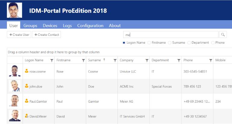 IDM-Portal ProEdition 2018 admin view