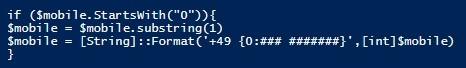 Optimierung von Telefonnummern - Powershell Skript