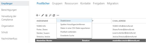 Postfach deaktivieren in Exchange Console