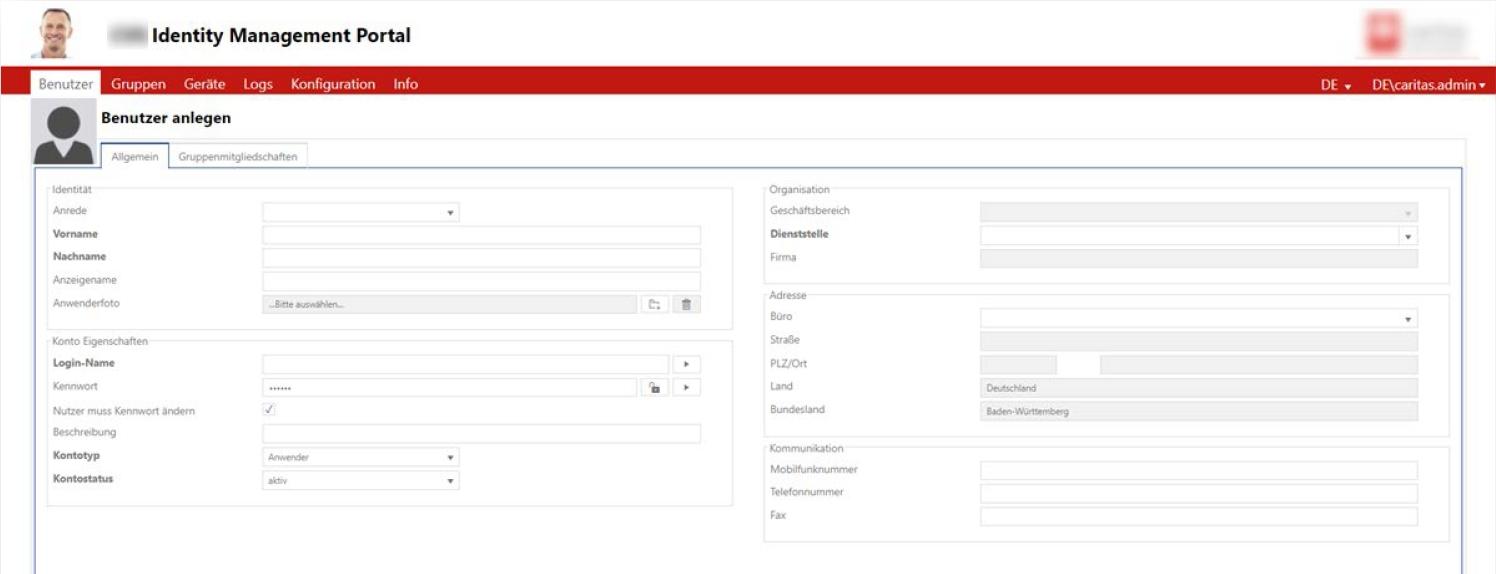 Idm Portal Benutzeranlage