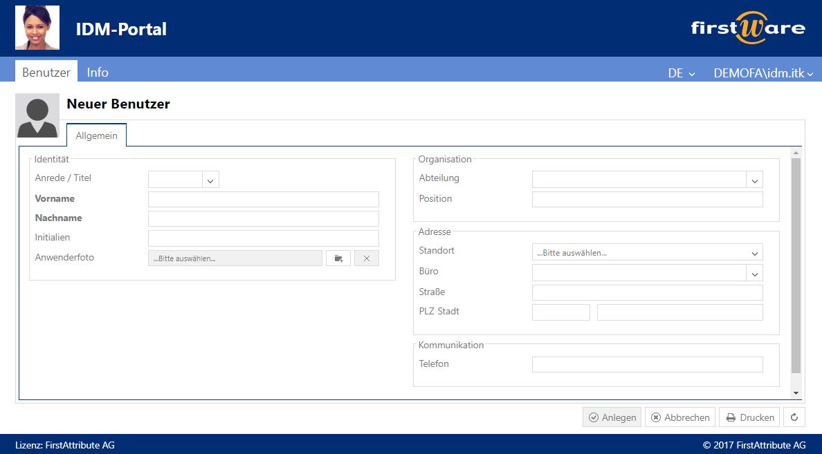Identity Management - Benutzerverwaltung mit FirstWare IDM-Portal