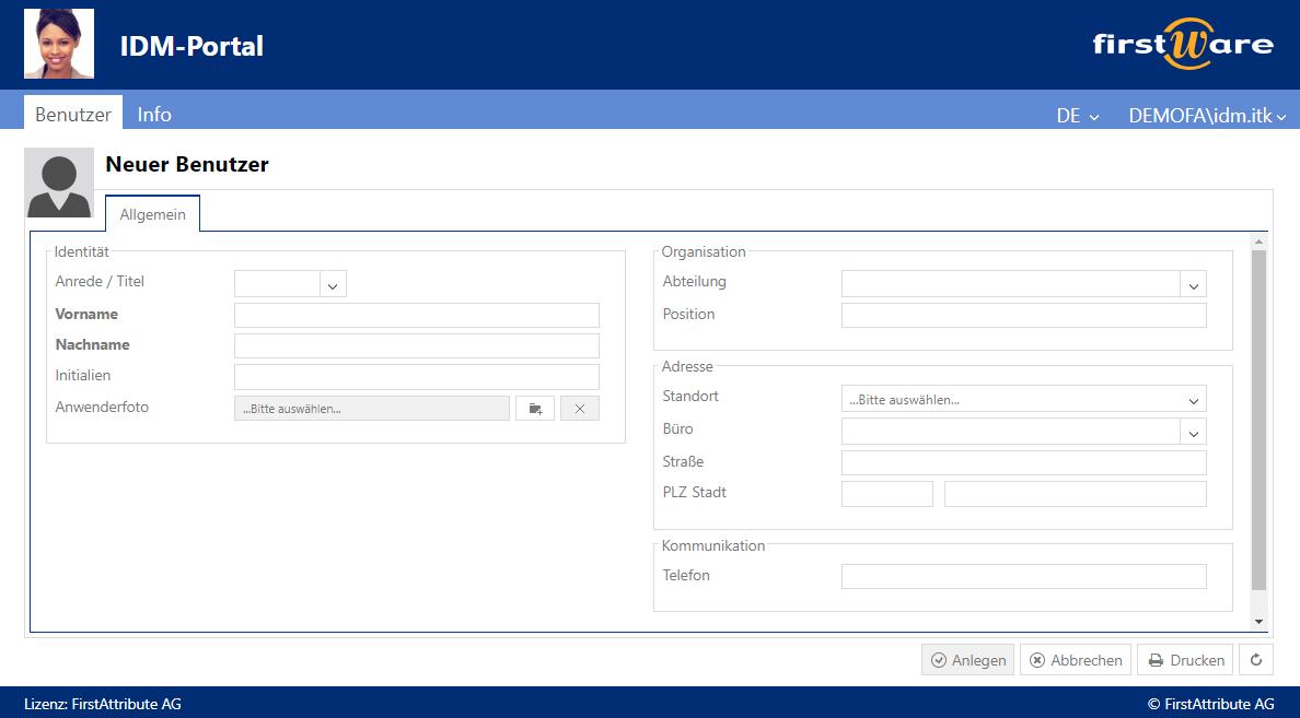 Benutzerverwaltung mit dem FirstWare IDM-Portal - On-Prem und in der Cloud
