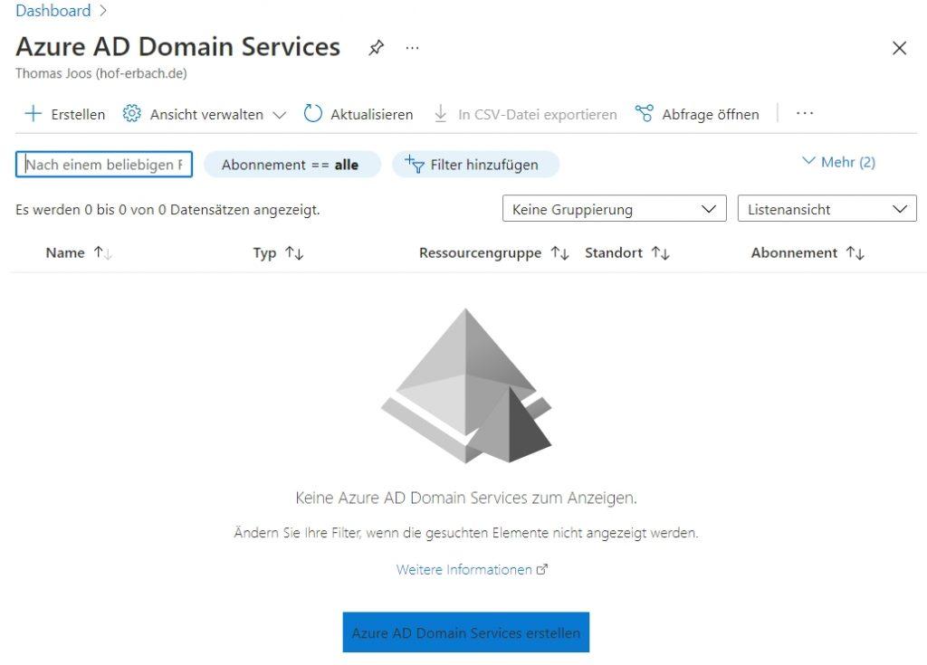 Erstellen einer neuen Instanz der Azure AD Domain Services