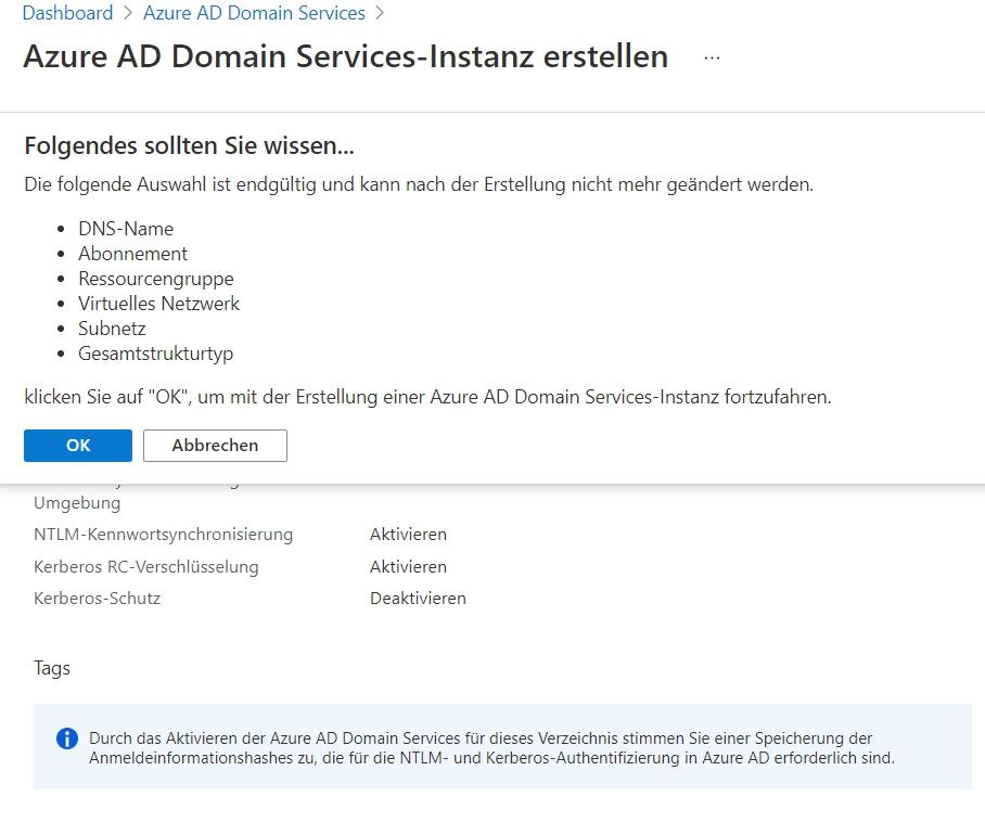 Bestätigen der Einstellungen für die Azure AD Domain Services