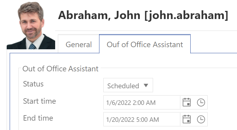 Set up Out of office - select status and time period